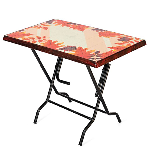 Akij Passion - 4 Seater Rect. Table - Steel Leg - Rose Wood - Maple Leaf